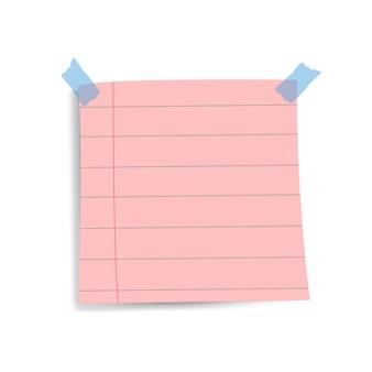 Vector de nota de papel de recordatorio rosa cuadrado en blanco