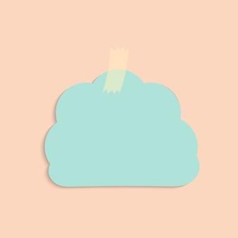 Vector de nota de recordatorio de nube verde en blanco