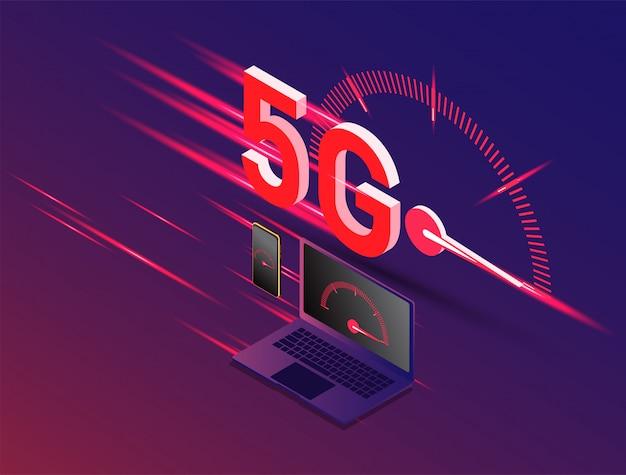 Vector de la nueva 5ta generación del concepto de internet, velocidad de la red 5g inalámbrica de internet.