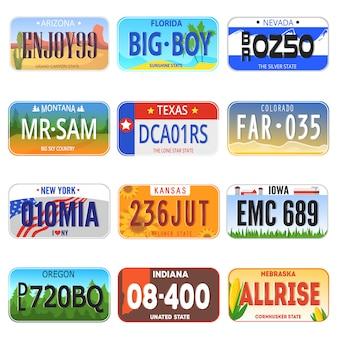 Vector de número de coche numerado ilustración de símbolo de registro de licencia de placa automática
