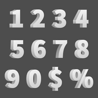 Vector de números y símbolos 3d