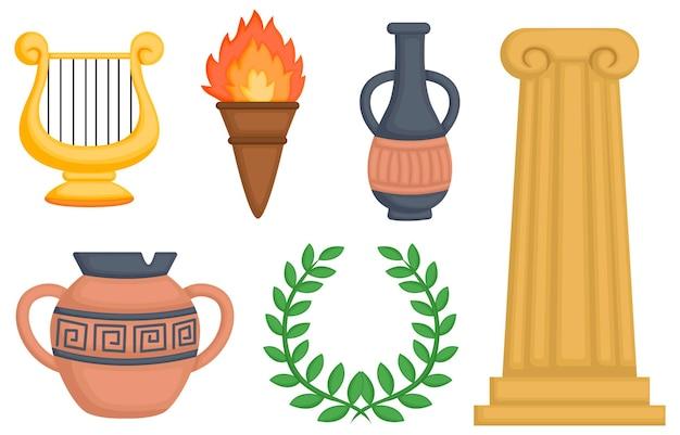 Un vector de objetos griegos y cerámica.