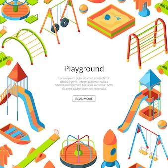 Vector de objetos de juegos isométricos. fondo de marco de infancia feliz con plantilla de texto