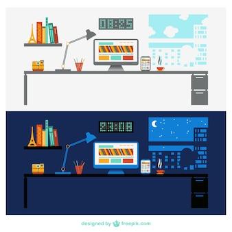 Vector oficina de día y de noche