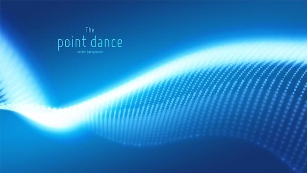 Vector de onda de partículas azules abstractas, matriz de puntos, profundidad de campo baja