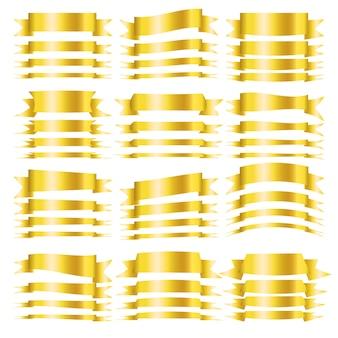 Vector oro cintas horizontales en blanco