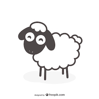 Vector de oveja en blanco y negro