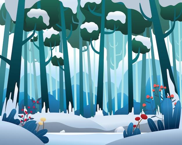 Vector paisaje con bosque de pinos en invierno