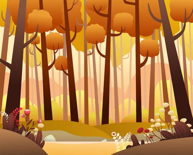 Vector paisaje con bosque de pinos en otoño.
