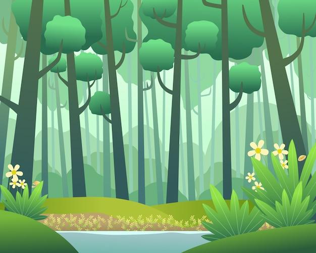 Vector paisaje con bosque de pinos en primavera