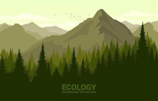 Vector el paisaje del bosque verde y la montaña grande, concepto de la ilustración para el tiempo natural y de primavera.