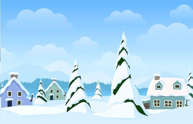 Vector paisaje horizontal con pueblo de invierno