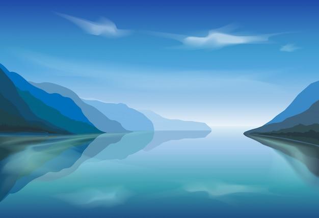 Vector paisaje de un lago de montaña en la mañana