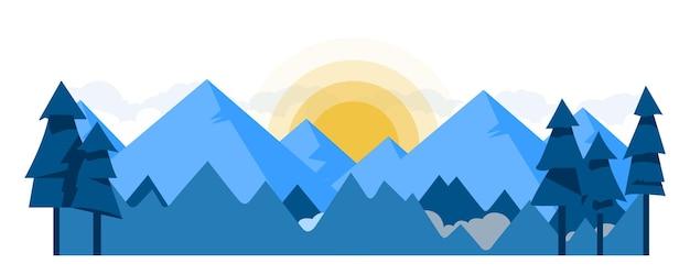 Vector paisaje naturaleza ilustración montañas y bosque al amanecer fondo de estilo plano