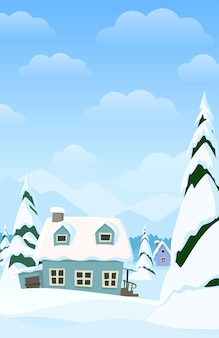 Vector paisaje vertical con pueblo de invierno