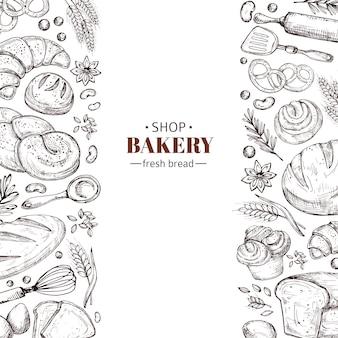 Vector de panadería retro con pan de doodle dibujado a mano