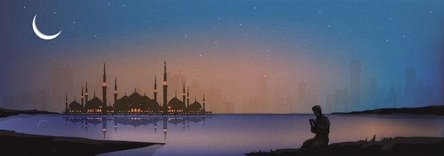 Vector panorama de, hombre musulmán haciendo tradicional rezar a dios en la noche de ramadán. concepto musulmán moderno.