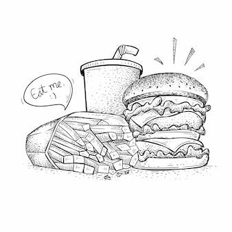 Vector de paquete de hamburguesas, ilustración de comida rápida de estilo dibujado a mano