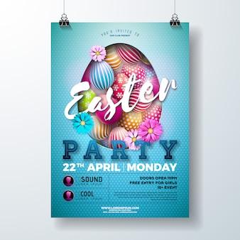 Vector de pascua fiesta ilustración flyer con huevo y flor
