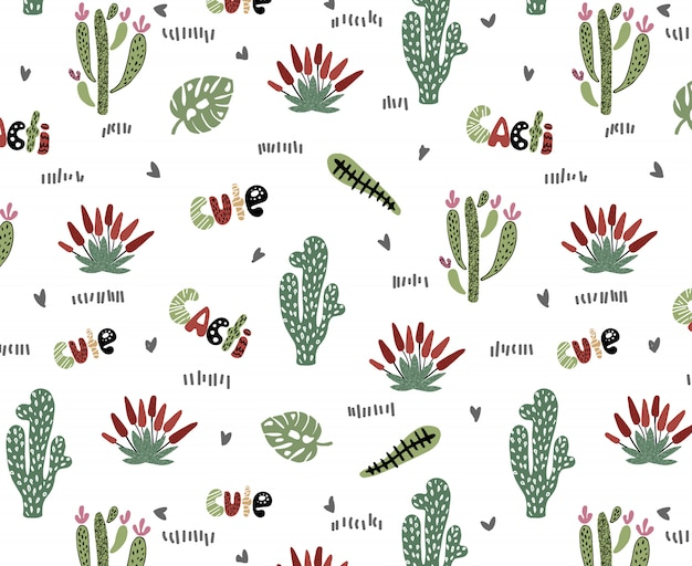 Vector sin patrón con cactus