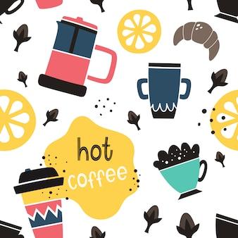Vector sin patrón de café en estilo doodle y dibujos animados
