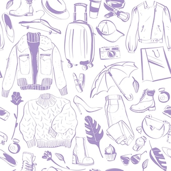 Vector patrón sin costuras para mujeres con accesorios ropa aislado zapato chaqueta bolsa perfume sombrero