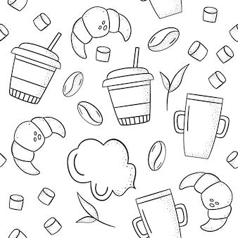 Vector sin patrón con croissants, granos de café, tazas, malvavisco, menta.