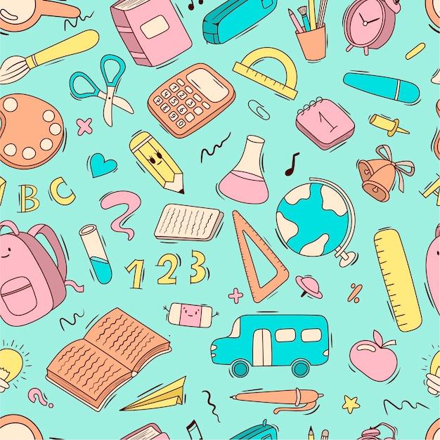 Vector patrón de dibujos animados transparente útiles escolares y escolares, papelería, libros, mochilas, autobús escolar.