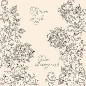 Vector patrón floral henna mehndi