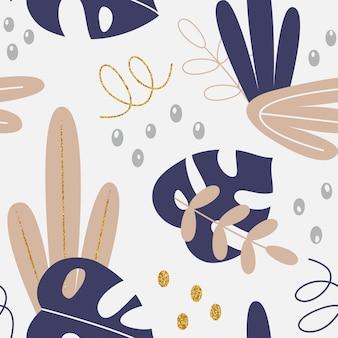 Vector patrón floral con hojas tropicales y elementos de dibujo a mano