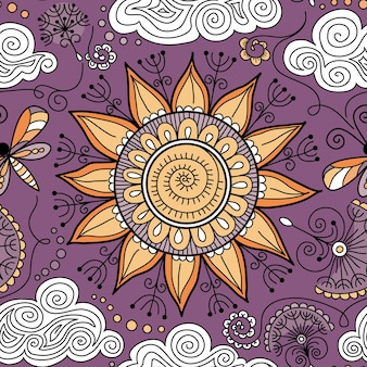 Vector patrón floral soleado transparente