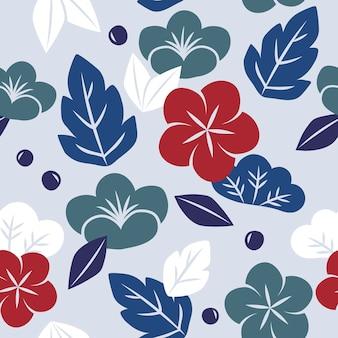 Vector de patrón floral transparente de estilo japonés