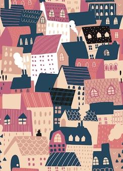Vector sin patrón de fondo con casas europeas