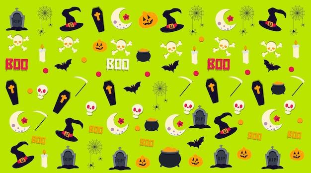 Vector de patrón de fondo de halloween con objetos decorativos temáticos de miedo en fondo verde de moda