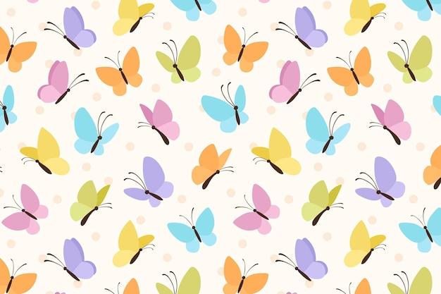 Vector de patrón de fondo lindo mariposa colorida