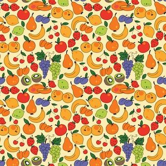 Vector sin patrón con frutas