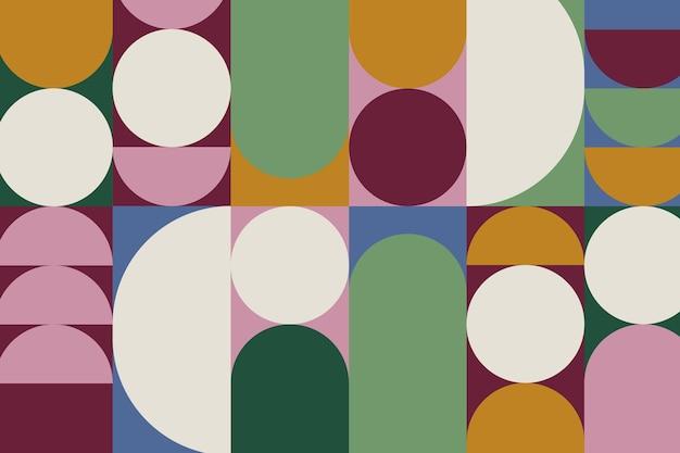 Vector de patrón geométrico retro colorido con formas circulares