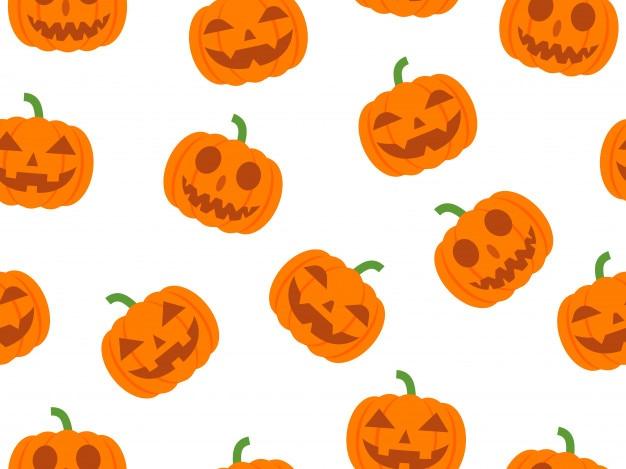Vector sin patrón de halloween con calabaza diablo