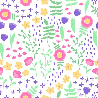 Vector sin patrón, hermosas flores abstractas de fantasía y plantas sobre fondo blanco. estilo escandinavo, colores pastel.