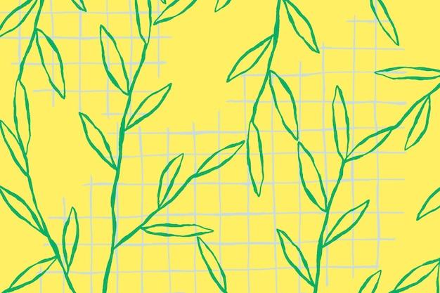 Vector de patrón de hoja verde sobre fondo de cuadrícula amarilla