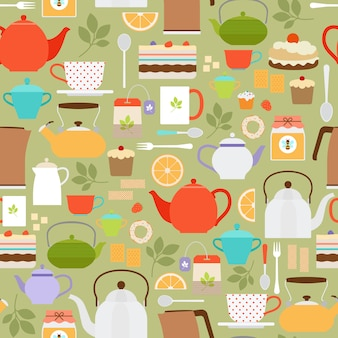 Vector patrón inconsútil de té con teteras y tazas