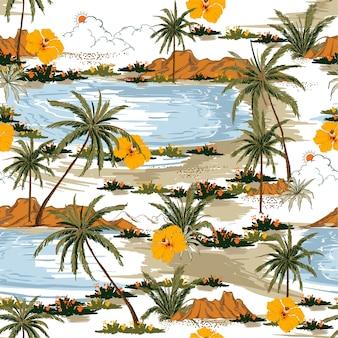 Vector de patrón de isla inconsútil de verano aloha.