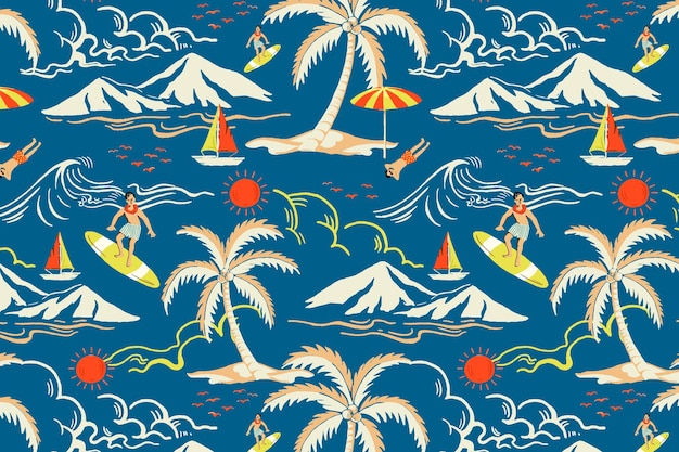 Vector de patrón de isla tropical azul con ilustración de dibujos animados turísticos