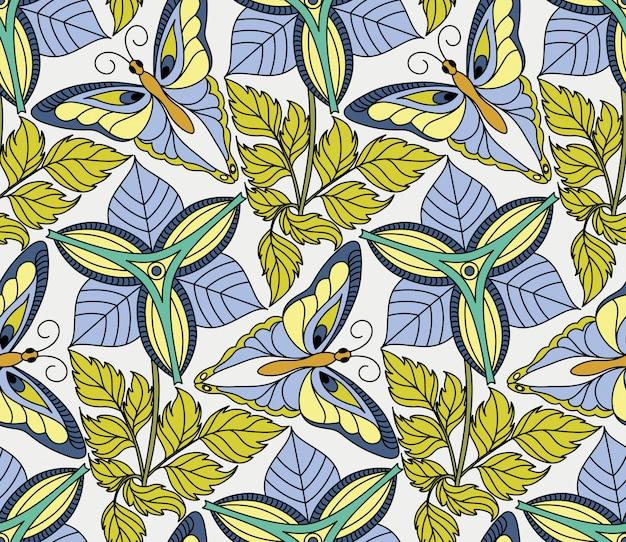 Vector sin patrón con mariposas y flores