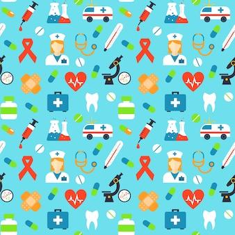 Vector patrón médico sin fisuras. microscopio de medicina, cinta roja, yeso y antibiótico, sangre y pulso, vitamina y jeringa, cápsula y termómetro