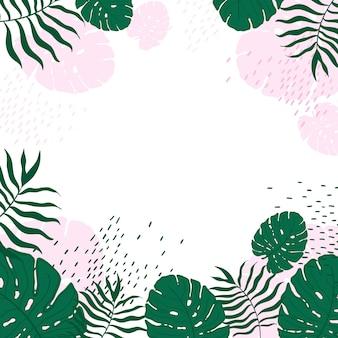 Vector patrón monstera tropical pastel deja marco.