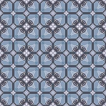 Vector de patrón de mosaico portugués transparente con adornos antiguos.