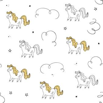 Vector sin patrón pony, textura dorada.