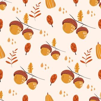 Vector patrón simple repetición sin fisuras con hojas de bellotas dibujadas a mano y gotas de lluvia