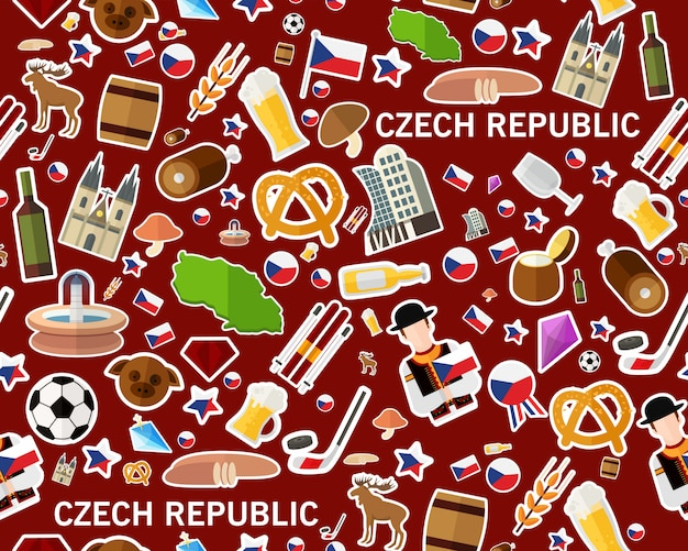 Vector patrón de textura inconsútil plana república checa